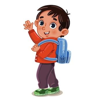 Terug naar school concept een kleine jongen met een rugzak kijkt ons aan en zwaait met zijn hand en glimlacht