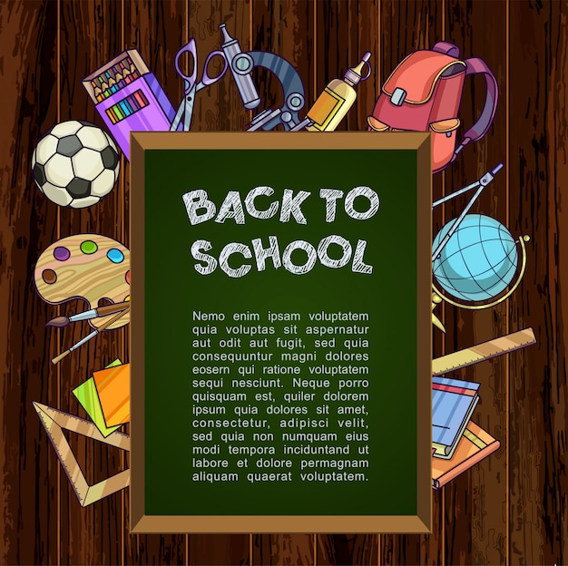 Terug naar school-concept. groen bord met schoolbenodigdheden.