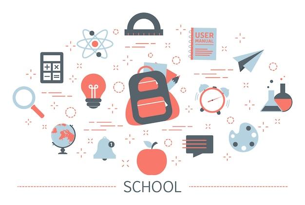 Terug naar school-concept. idee van onderwijs