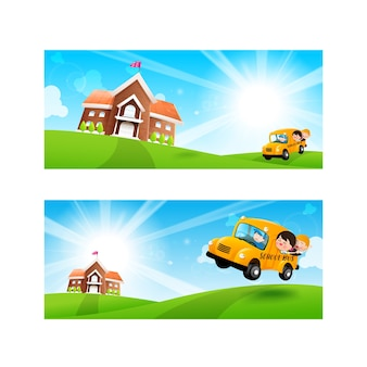 Terug naar school concept lege sjabloon voor spandoek student kinderen op schoolbus