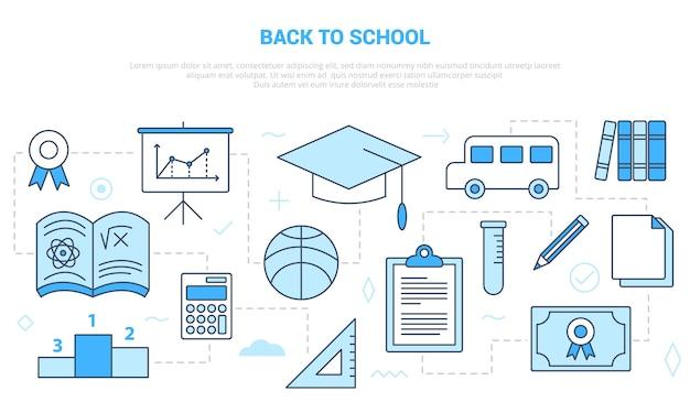 Terug naar school-concept met pictogrammensjabloon met moderne blauwe kleurstijl