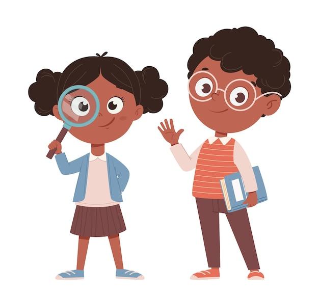 Terug naar school concept vrolijke afro-amerikaanse schoolmeisje en schooljongen schattige stripfiguren