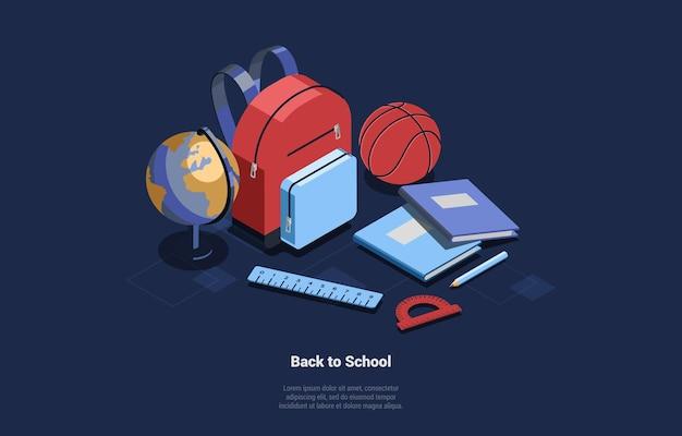 Terug naar school conceptuele illustratie op blauwe donkere achtergrond met schrijven. isometrische set van gerelateerde items studeren