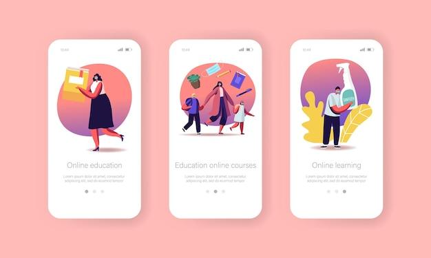 Terug naar school coronavirus pandemic mobiele app-pagina aan boord van schermsjabloon