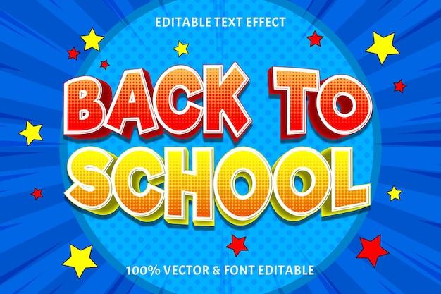 Terug naar school dag teksteffect reliëf komische stijl