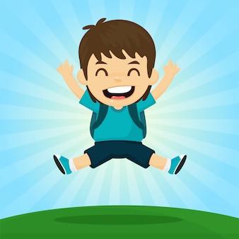 Terug naar school. de jongen sprong blij om naar school te gaan. met de zon in de ochtend