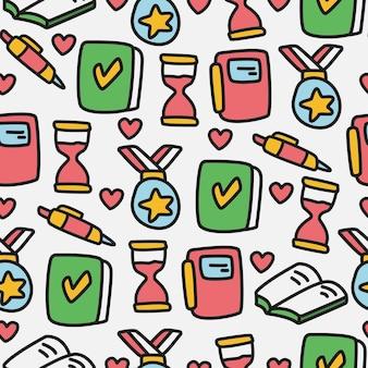 Terug naar school doodle cartoon naadloze patroon