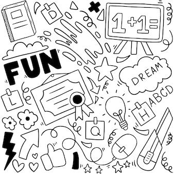 Terug naar school doodle elementen samenstelling