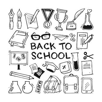 Terug naar school doodle iconen collectie