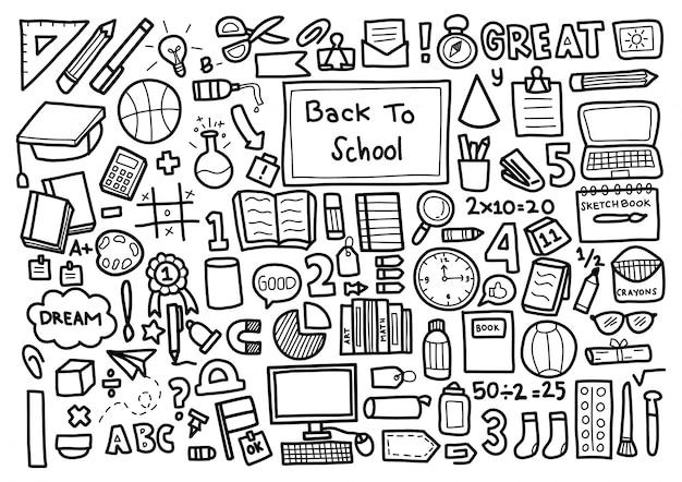 Terug naar school doodle ornament achtergrondpatroon