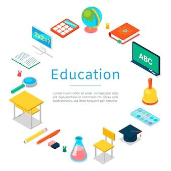 Terug naar school en onderwijs elementen sjabloon
