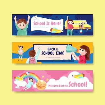 Terug naar school en onderwijsconcept met bannermalplaatje