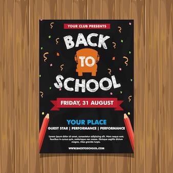 Terug naar school evenement flyer blackboard achtergrond