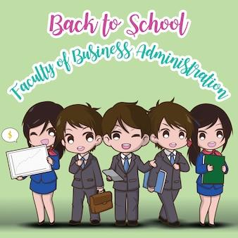 Terug naar school. faculteit bedrijfskunde. leuke zakenman cartoon.