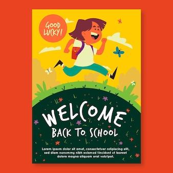 Terug naar school flyer-sjabloon geïllustreerd