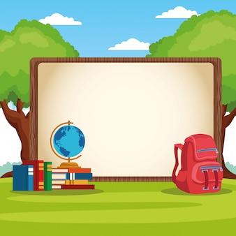 Terug naar school frame met cartoon