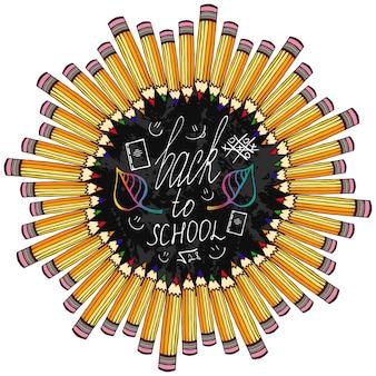 Terug naar school. frame met kleurrijke potlood en schoolbord