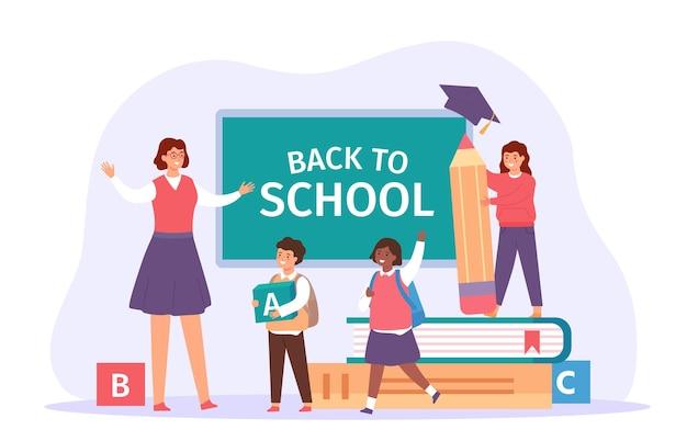 Terug naar school. gelukkige leraar ontmoet studenten met tassen, boeken en potlood. kinderen in de klas. eerste studiedag, onderwijs vectorconcept. jongens en meisjes leerlingen in uniform komen om te leren