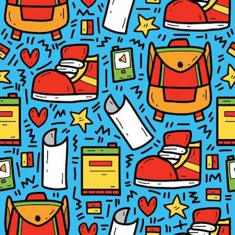 Terug naar school getrokken cartoon schattig doodle patroon hand
