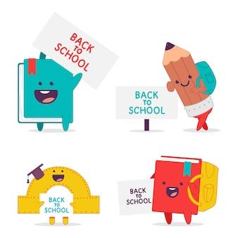 Terug naar school grappige stripfiguren set geïsoleerd op een witte achtergrond.