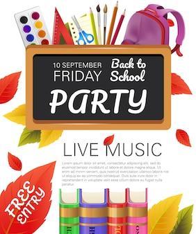 Terug naar school, gratis flyerontwerp voor feestjes