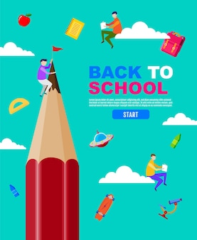 Terug naar school groot potlood kind kinderen sociaal afstandelijk plat ontwerp.