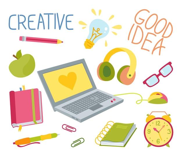 Terug naar school hand getekende tekenfilm set leren school kleurrijke creatieve platte collectie eerste dag school onderwijs concept icon kit schetsboek laptop bril en boek briefpapier