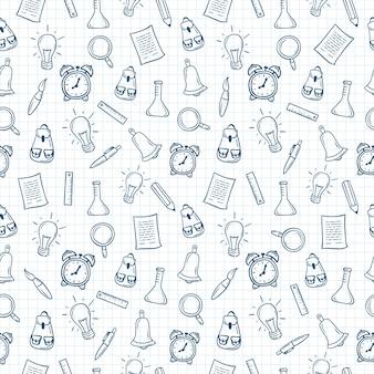 Terug naar school hand getrokken naadloze patroon op ruitjespapier.