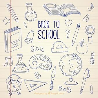 Terug naar school, handgetekende bodem