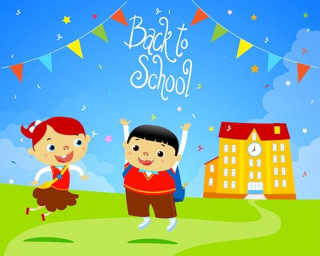 Terug naar school happy kids platte ontwerp illustratie. handgemaakt lettertype.