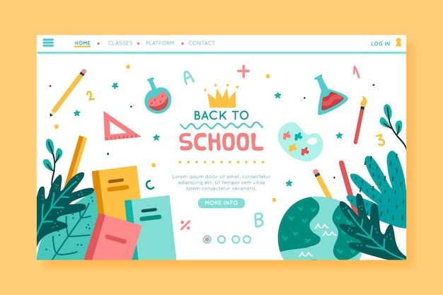 Terug naar school homepage-ontwerp