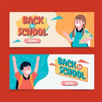 Terug naar school horizontale banners set