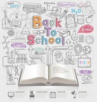 Terug naar school idee doodles illustratie en open boek.