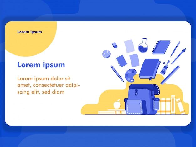 Terug naar school illustratie concept voor web illustratie en banner met vlakke stijl