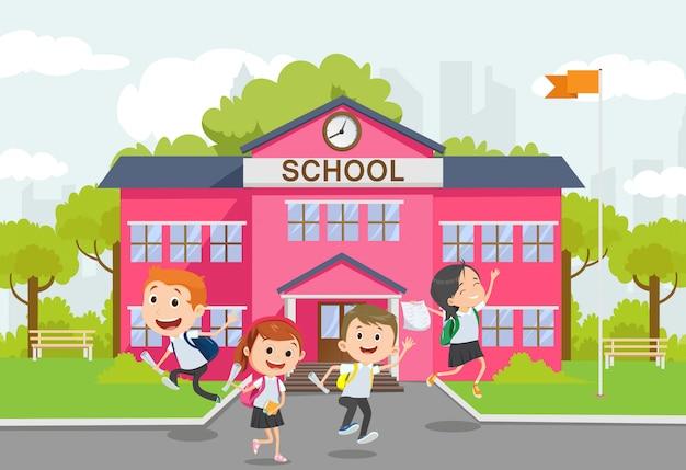Terug naar school illustratie. kinderen hebben plezier, opgewonden, springen, wegrennen. jeugdvrienden.