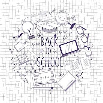Terug naar school illustratie met schets stijl