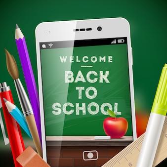 Terug naar school illustratie met smartphone en briefpapier items