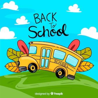 Terug naar school illustratie van schoolbus