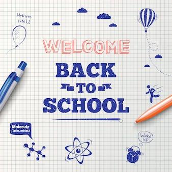 Terug naar school inscriptie met briefpapier items en hand getrokken pictogrammen