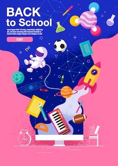 Terug naar school inspiratie poster plat kleurrijk