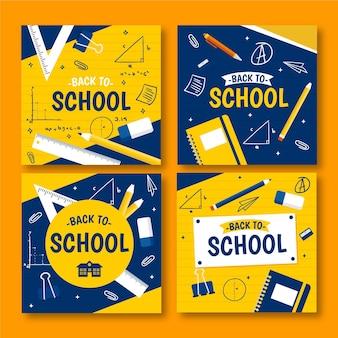 Terug naar school instagram-berichten in plat ontwerp