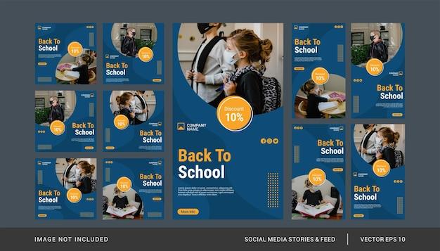 Terug naar school instagram-post en verhalensjabloonset