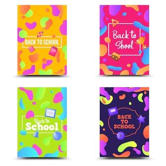 Terug naar school instellen banner kleurrijke geometrische