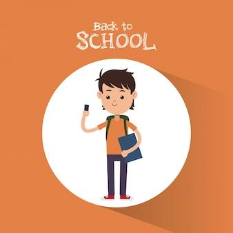 Terug naar school jongen student met smartphone tas en boek