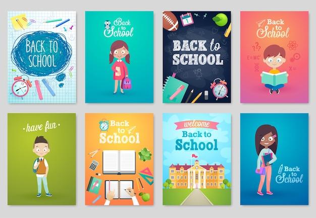 Terug naar school-kaartenset schoolkinderen schoolborden apparatuur