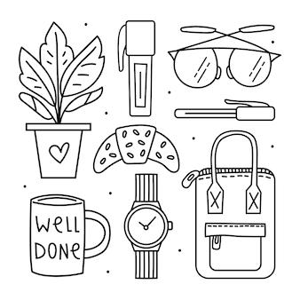Terug naar school. kantoorpersoneel, briefpapier. illustraties, set elementen. zwart doodle lijntekeningen ontwerp.