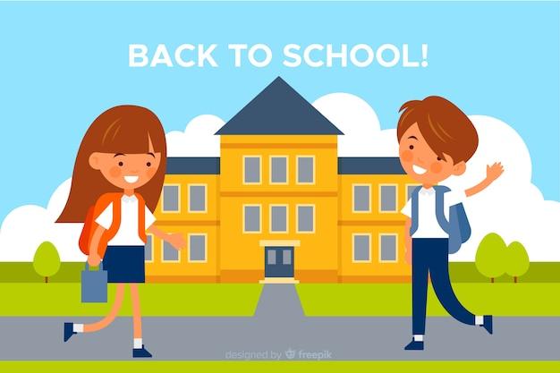 Terug naar school karakter van gelukkige kinderen