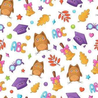 Terug naar school kawaii accessoires patroon