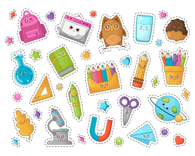 Terug naar school kawaii stickers