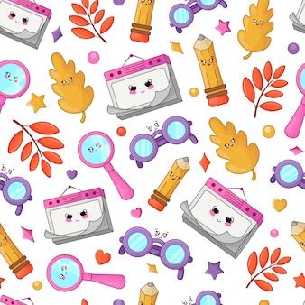 Terug naar school kawaii terug naar school kawaii accessoires patroon